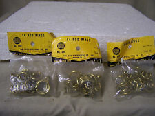 "Vintage Curtain Rod Rings with Eyelet  5/8"" Gould No. 04E Brass Plated Qty. 42"