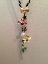 Betsey Johnson Bumblebee Butterfly Charms Chain & Ribbon Necklace New MSRP $48