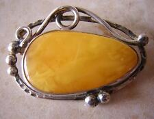 NATURAL OLD YELLOW ANTIQUE BUTTERSCOTCH BALTIC AMBER BROOCH PIN 15g SILVER MOUNT