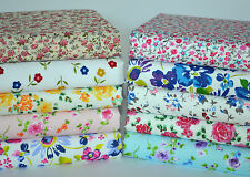 FLORAL POLY COTTON FABRIC BUNDLE LARGE REMNANTS ROSES DITSY FLOWERS PINK BLUE