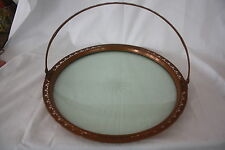 RARE ANTIQUE ELEGANT EMPRESS WARE NEW YORK CUT CRYSTAL AND COPPER SERVING TRAY