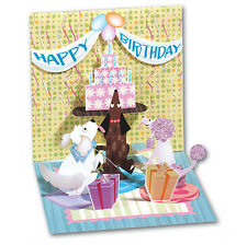 Dog and Cake Party Pop-Up Birthday Card - Greeting Card by Up With Paper