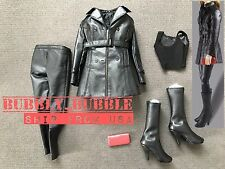 1/6 Women Leather Trench Coat Set BLACK For Phicen Hot Toys Figure SHIP FROM USA