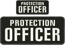 PROTECTION OFFICER EMBRIDERY PATCH 4X10 AND 2X5  hook on back black/white