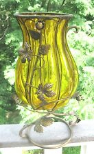 AMBER GLASS FLUTED CENTERPIECE VASE WITH FLORAL WROUGHT IRON CASEMENT STAND