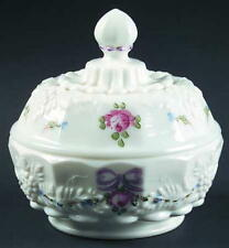 Westmoreland Roses & Bows Round Puff Box with Lid