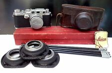 1951 Leitz Leica IIIf Camera w/ Summarit 50mm f/1.5 fast Lens & Accessories RARE