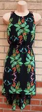 PRIMARK BLACK GREEN TROPICAL BIRD PRINT SKATER FLIPPY A LINE TEA DRESS 8 S