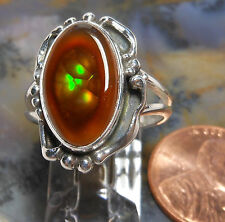 New Sterling Silver & Fire Agate Gemstone handmade ring size    7 1/2       256a