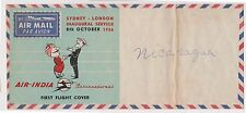 (YAD-95)1956 India flight cover Sydney toLondon unused (pen scribbled Nicaragua)
