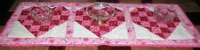 Handmade Valentine's Day QUILTED  TABLE RUNNER 41x15 Glitter  Red Hearts