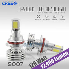9007 120W 12000LM CREE LED Headlight Kit Light Bulbs 6000K White High/Low Beam