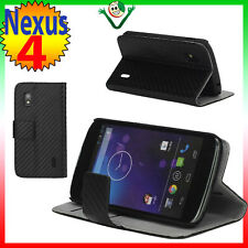 Custodia CARBON BOOK eco pelle STAND integrato per LG Google Nexus 4 E960 NERO