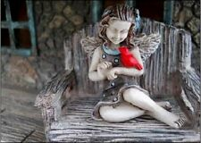 Miniature Garden Fairy April with Cardinal 0009 Dollhouse  Faerie