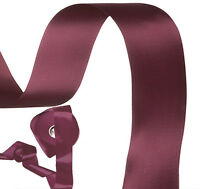 """5m x Deep plum purple double satin ribbon 50mm 2"""" wide Made in UK"""