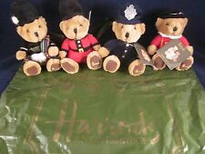 HARRODS Bears Bean Set of 4 ~ Piper Guardsman Policeman Beefeater ~ NEW Tags