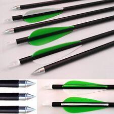 10 x New Fibreglass CARBON GRADE Steel Tip Archery Arrows Nocks suits Most Bows
