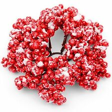 Candle Ring With Artificial Red Berries and Snow - Christmas Decoration