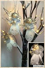 LUXURY 4 SILVER ANGEL FAIRYS CHRISTMAS TREE DECORATIONS BAUBLES  ORNAMENT