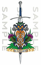 356mm x 145mm Scotland Thistle Celtic Sword Sticker Car Truck Van Boat tool box