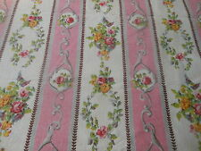 Antique Vintage French Pink Floral Garland Stripe Fabric ~  Pink Yellow Lavender