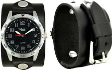 Men's Handcrafted Black Leather Cuff Watch - Wrap Around Cuff Watch- Made In USA