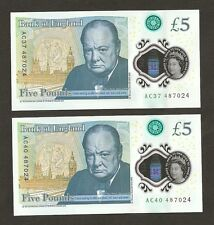 2 x 2016 England £5 Pounds First Polymer Last 6 Digit Number Matching Set 487024