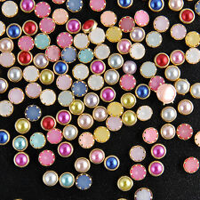 200 Pcs 3D Nail Art Alloy Decor Bling Rhinestone Pearl Glitter Tips DIY 4mm L7