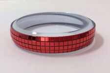 Scarlet Red Glitter Mirror Ball Party Disco Bracelet Bangle Sparkly 70s 80s