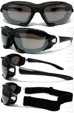 A71 Matte White Black Smoke Mirror Padded Motorcycle Sunglasses Goggles W Strap