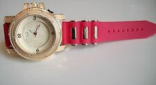 Iced Out Gold Finish Hip Hop Rapper Style Red  Rubber Silicon Band Fashion Watch