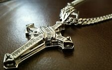 """24"""" Box Link Solid Sterling Silver Necklace w/Cross Pendant total 100 Grams!"""