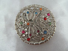 STUNNING SILVER & MULTI-COLORED RHINESTONES BUTTERFLY & FLORAL BELT BUCKLE