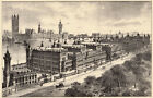 London, St Thomas's Hospital FINE antique engraving, c1880 ready mounted