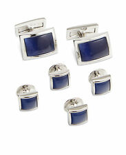 Ryan Seacrest Cufflinks and Studs, Rhodium and Royal Blue Cat's Eye, $90 Retail