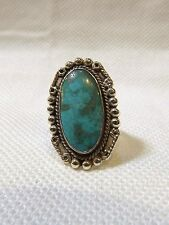 VERY NICE OVAL 925 STERLING SILVER TURQUOISE RING size 6