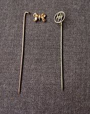 2 ANTIQUE BOW GOLD FILLED & GOLD PLATED FILLIGREE STICK PINS LOT FOR REPAIR