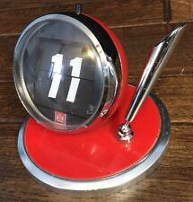 Vtg Flip Number Date Desk Calendar Spherical 70s Look Pen Holder Desk Top Red