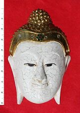 Thai Buddha Face Image - White - Carved Wooden Sculpture     BH010
