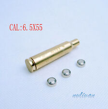 Brass CAL 6.5X55 Red Dot Laser Bore Sight Cartridge Coppe BoreSight W/battery