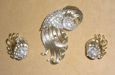 "Lisner Rhinestone Pin & Earring Set - ""Under the Sea"" or Jellyfish Design"
