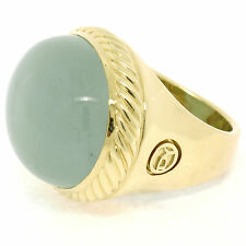 RARE David Yurman Albion 18K Yellow Gold Large Oval Cabochon Aquamarine Ring
