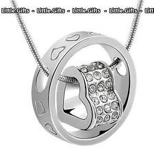 Love Hearts Engraved Ring Crystal Pendant Chain Necklace Gift For Wife Her Mum