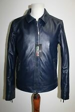 ITALIAN HANDMADE MEN LAMBSKIN LEATHER SLIM BEST FIT JACKET SIZE L BLUE
