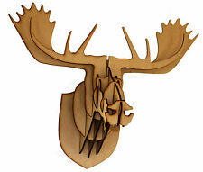 In legno chiaro MDF MOOSE DEER Stag Head 3D CRAFT contemporaneo VERNICE FAI DA TE DECORARE