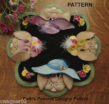 "PATTERN ""In Their Easter Bonnets!"" Wool Applique Penny Rug Candle Mat *PATTERN*"