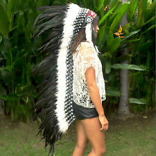 Free Shipping! Indian Headdress - Native American - Extra Long - Black feathers
