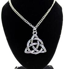 Women Jewelry Celtic Knot Trinity Interweave Alloy Pendant Chain Necklace Choker