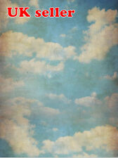 VINTAGE SKY BLUE BACKDROP WALLPAPER BACKGROUND VINYL PHOTO PROP 5X7FT 150x220CM