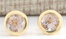 3.00CTW NATURAL MORGANITE EARRINGS 14K SOLID YELLOW GOLD